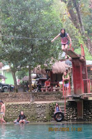 Malumpati Cold Spring: If you can face your fear to jump on this plank... do it and conquer your fear...