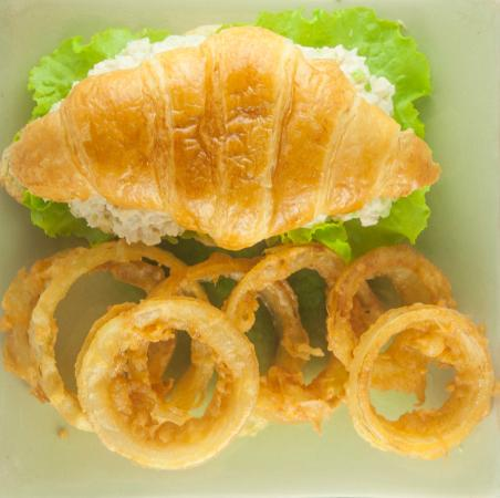 Common Grounds: Chicken Salad Sandwich with Onion Rings