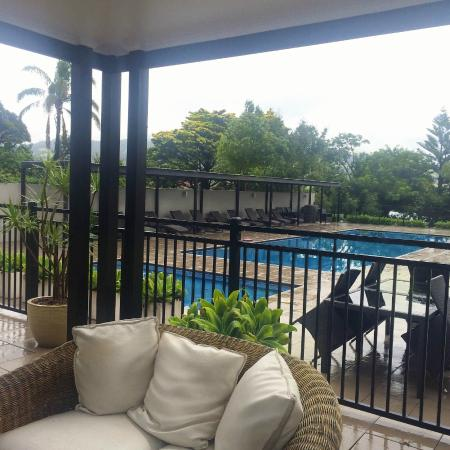 Covered area next to the family pool