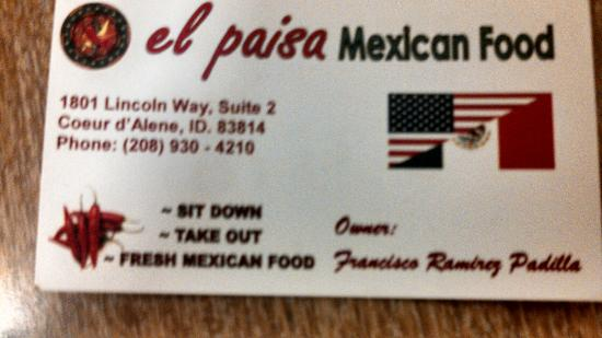 Their business card so you can order pick up your food picture el paisa their business card so you can order pick up your food colourmoves