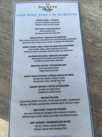 Menu Picture Of Secrets The Vine Cancun Cancun Tripadvisor
