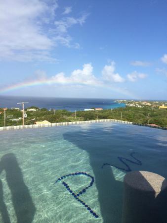 Punta West Bed & Breakfast Curacao: Pool mit Regenbogen