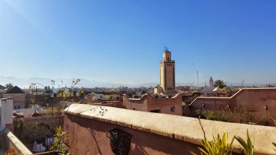 Riad Jenaï : Roof Terrace - Atlas Mountains in the distance.