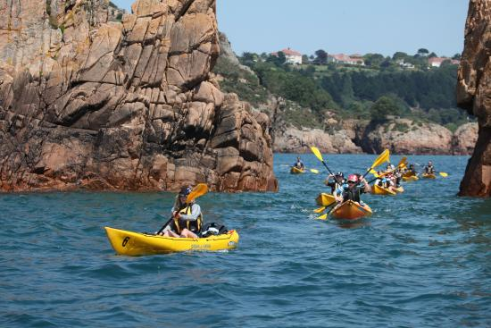 Absolute Adventures: Kayaking out of St Brelades bay along the south coast