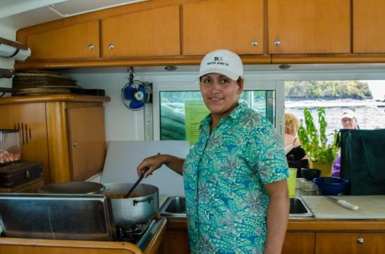 Catamaran Charter Panama - Day Sails: Darling the cook and mate