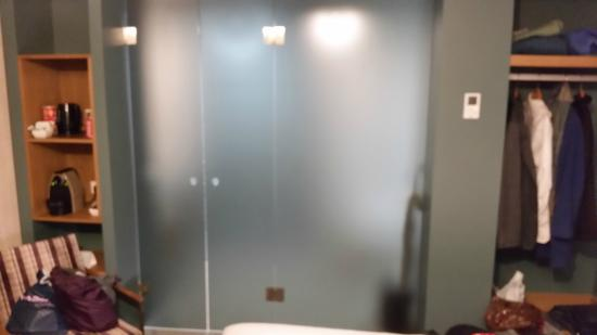 Bathroom Has Smoked Glass Door With Finger Holes In It Picture Of