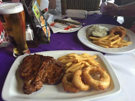 Mustang : 500gm T-Bone with excellent onion rings & chips