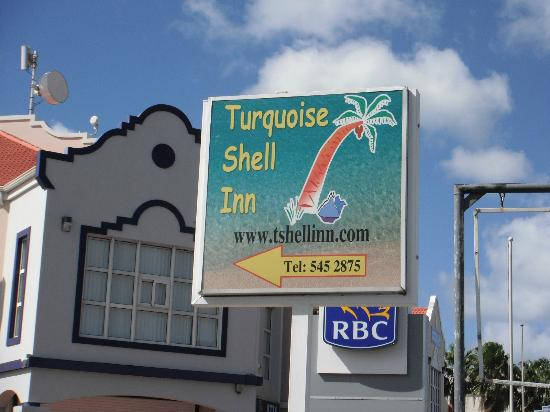 Turquoise Shell Inn: hotel sign on Simpson Bay main street