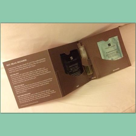Crowne Plaza Chicago O'Hare: aromatherapy packet left on bed at check in.