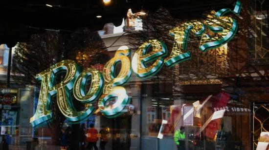 Rogers' Chocolates: Window signage