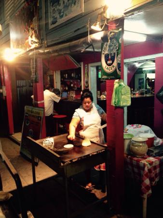 Pupuseria Salvadoreno : Made to order Papusas outside right in front of the restaurant entrance.