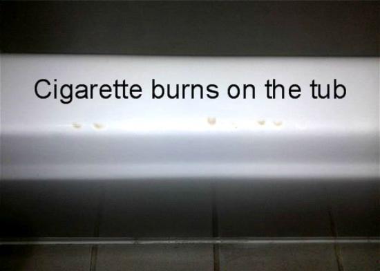 Best Western Chaffin Inn: cigarette burns on the tub