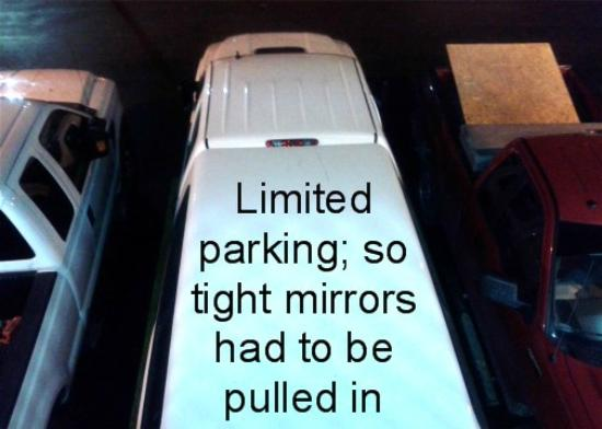Best Western Chaffin Inn: Limited parking; so tight mirrors had to be pulled in