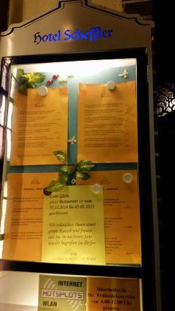 Hotel Scheffler: Information für die Hotelgäste, dass das -Restaurant geschlossen haz