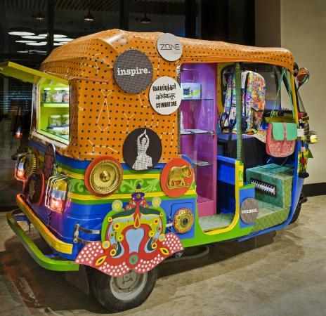 An Customized Autorickshaw Where You Can Pick Up Local Handicrafts