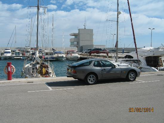 Playa de Calafell: Port Segur Marina - with modern Captain's Tower in background where Marina opens into the Med.