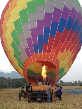 Balloons Over Vang Vieng: Filling up