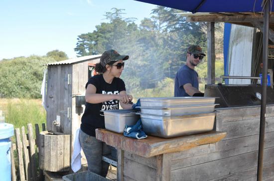 Hog Island Oyster Company: staff under boat bar