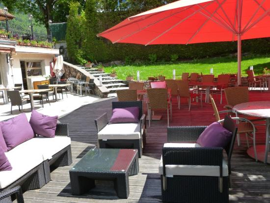 Hotel l'Aiguille Du Midi : Terrasse en bois exotique