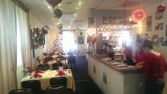 The German Restaurant: As you walk in at Christmas