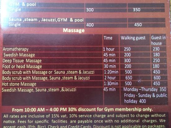 Hotel Intercontinental-Addis : Massage rates for hotel guests and non-guests.