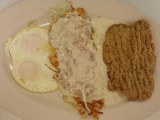 Mr V's Family Restaurant: Chicken Fried Steak, Eggs, Hashbrowns w/ Sausage Gravy
