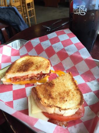 Blue Heron BrewPub: 3 cheese, tomato, and bacon grilled sandwich special!
