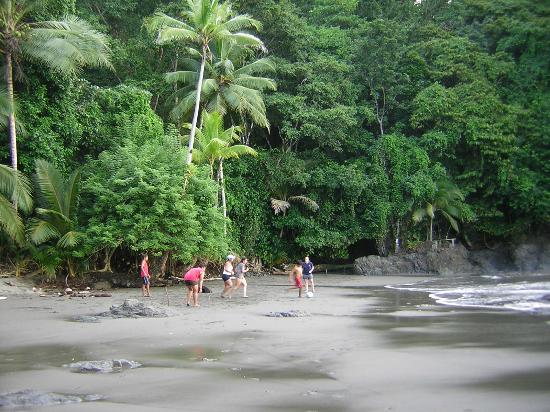 Campanario Biological Station: playing soccer at low tide