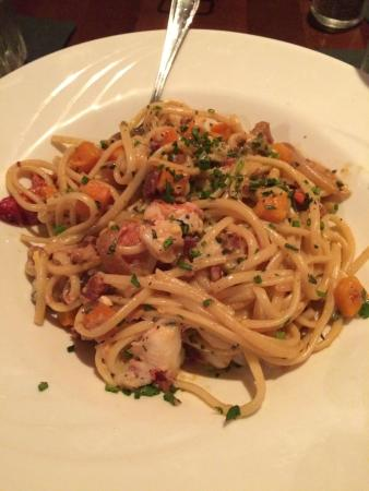 Lobster & shrimp carbonara.