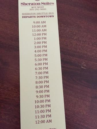 Sheraton Suites Key West : Shuttle schedule 1 of 2