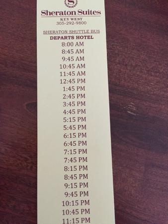 Sheraton Suites Key West : Shuttle schedule 2 of 2