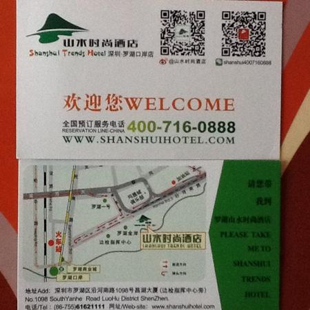 Shanshui Trends Hotel (Shenzhen Luohu): right map and useful information card