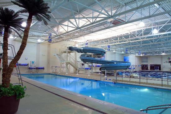 Monterey Sports Center : 92 Degree Therapy Pool with 112 ft Waterslide
