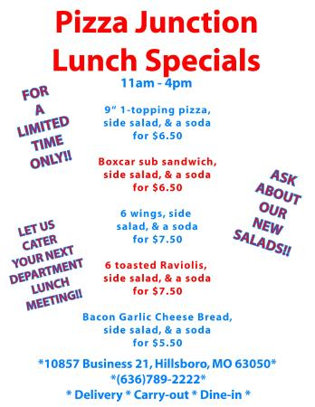 Pizza Junction: NEW Lunch Specials 11am-4pm
