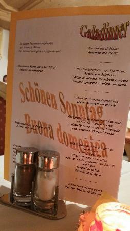 Green Lake Hotel Weiher: Menu della cena mezza pensione