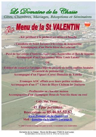 Domaine de la Chasse: SOIREE SPECIALE SAINT VALENTIN 14 FEVRIER 2015