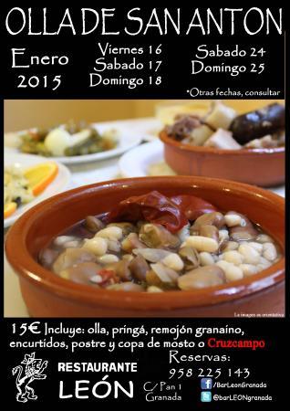 Restaurante Bar Leon: Menú de Olla de San Antón 2015