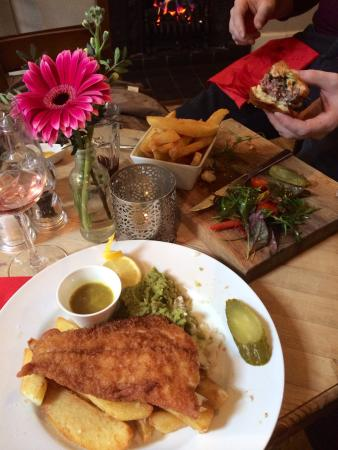 The Old Coach & Horses: The best burger my partner has had in a long time and my fabulous fish and chips :)