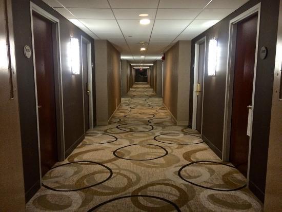 Hall with bold rug.