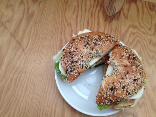 Veggie Bagel sandwich. Breakfast on the go! - Picture of ...