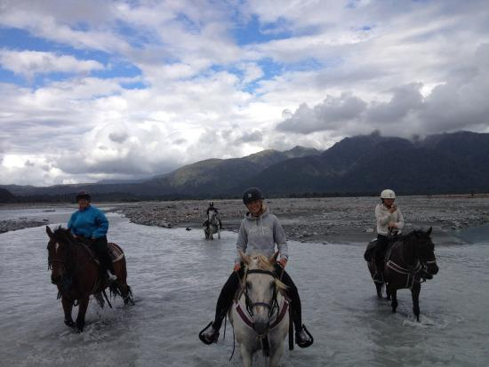 Glacier Country Horses : Paddling in the Waiho river-glacier water.