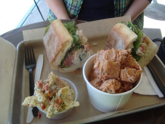 The Beat Coffeehouse : Roasted chicken salad sandwich, potato salad & pasta salad.