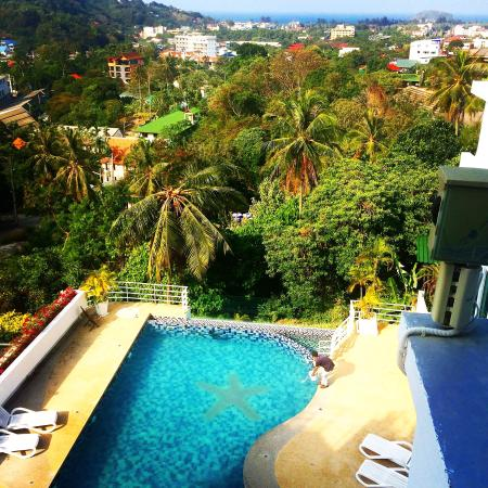 Kata Ocean View Residences: View from room of pool and kata