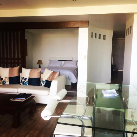 Kata Ocean View Residences: Living room , kitchen and bedroom.