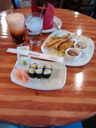 Benja Thai & Sushi: Thai Iced Tea, Avocado Sushi, Chicken Satay