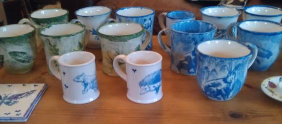 Malmesbury, UK: Mugs done at Paint a Pot at Roki Pottery