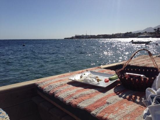 Yalla Bar: what a location, chilling on sun lounges after lunch