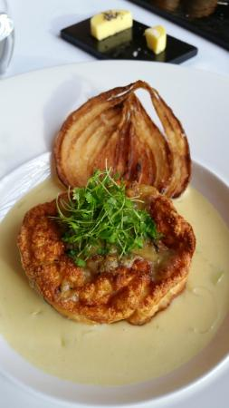 Twice baked soufflé of wild mushrooms and blue cheese