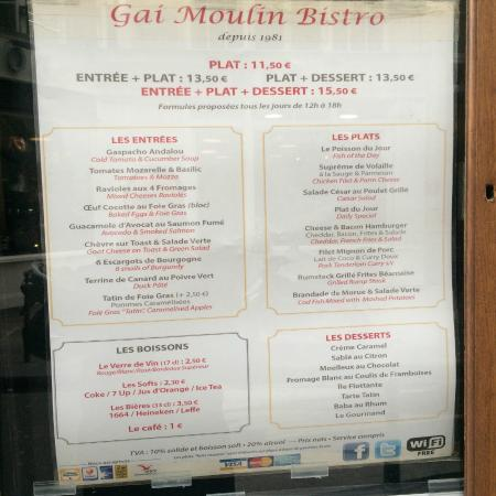 Gai Moulin Bistro : Carta del menú por 13,5 €