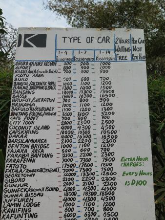 Kombo Beach Hotel: taxi fares